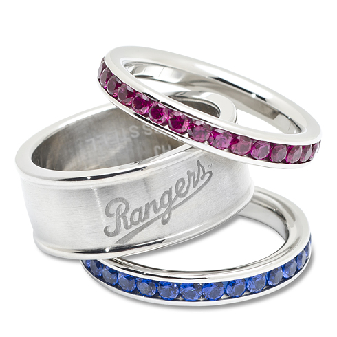 Texas Rangers Team Logo Crystal Stacked Ring Set