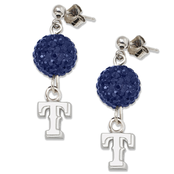 Sterling Silver Texas Rangers Crystal Ovation Earrings
