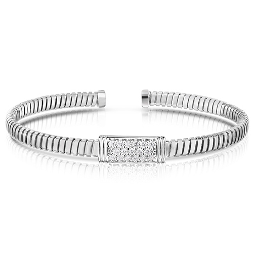 Sterling Silver Silver Tubogas White Cubic Zirconia Cuff Bangle