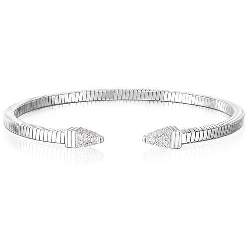 Sterling Silver Tubogas Spike White CZ Bracelet