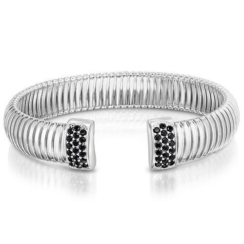 Sterling Silver Cavour Black CZ Bangle Bracelet