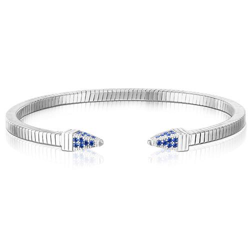 Sterling Silver Tubogas Spike Royal Blue CZ Bracelet