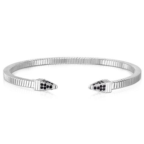 Sterling Silver Tubogas Spike Black CZ Bracelet