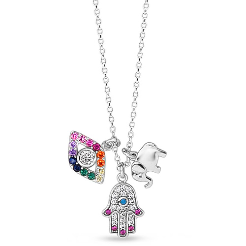 Sterling Silver Rainbow CZ Hamsa Evil Eye Elephant Charm Necklace