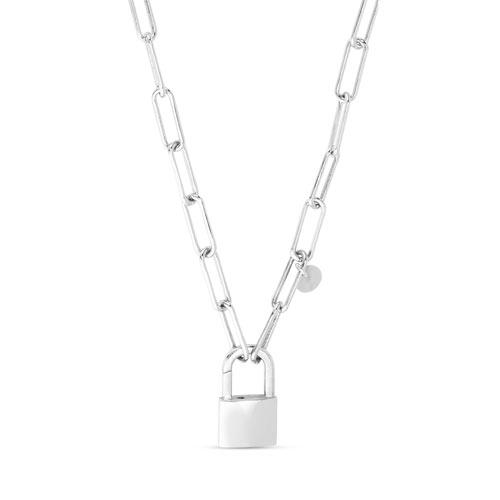 Sterling Silver Padlock Paper Clip Link Necklace