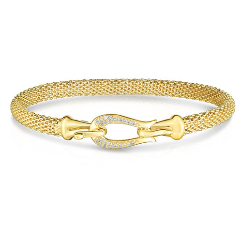 128b4522167 Phillip Gavriel 14k Gold Diamond Popcorn Buckle Bracelet