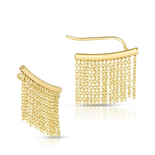 14k Yellow Gold Fringe Chain Ear Climbers