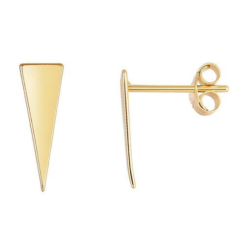 14k Yellow Gold Triangle Ear Climber Stud Earrings
