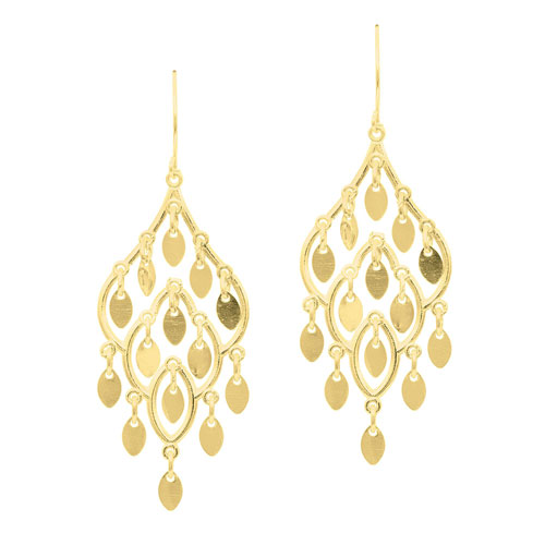 14k Yellow Gold Chandelier Earrings with Shiny Tear Drops