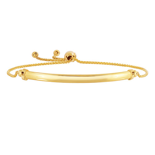 14k Yellow Gold Adjustable Bolo Arched Bar Bracelet with Cuff Accents