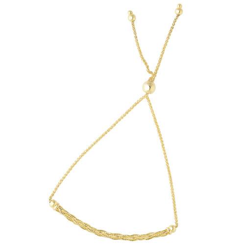 14k Yellow Gold Adjustable Bolo Woven Bar Bracelet