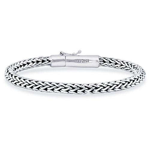 Phillip Gavriel Sterling Silver 7.5in Woven Bracelet Fleur de Lis