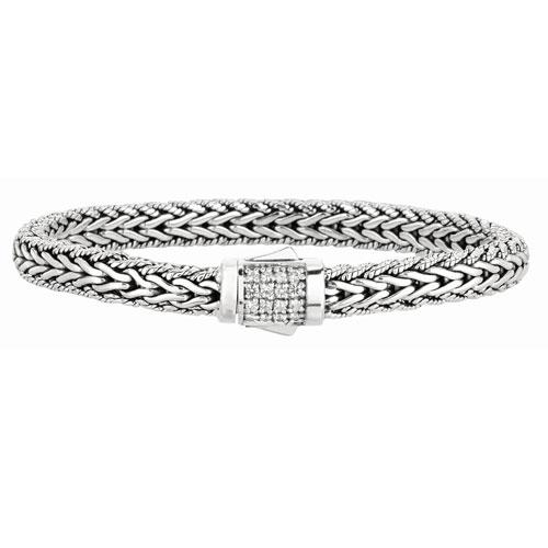 Phillip Gavriel Sterling Silver White Sapphire Woven Bracelet 7.5in