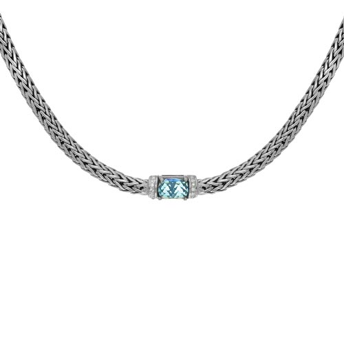 Phillip Gavriel Sterling Silver Blue Topaz Necklace White Sapphires