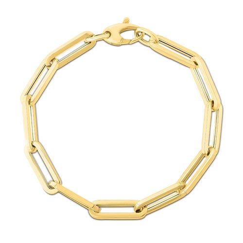 14k Yellow Gold Oval Paper Clip Bracelet 7.5in