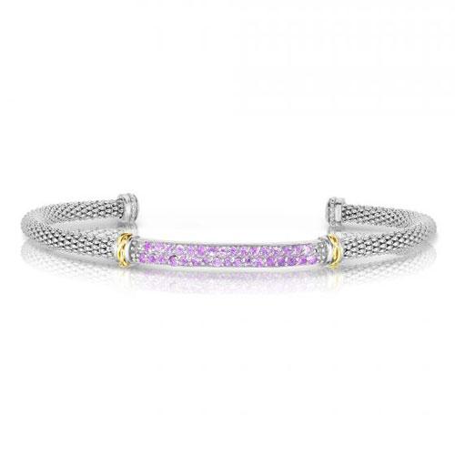 Phillip Gavriel Sterling Silver 18k Gold Pink Sapphire Bar Bangle