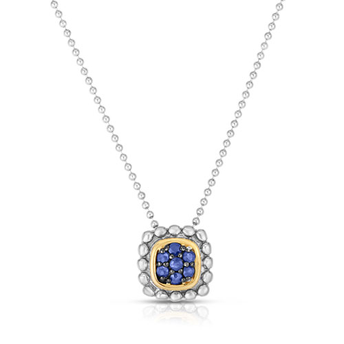 Sterling Silver 18k Yellow Gold Popcorn Quadra Sapphire Necklace