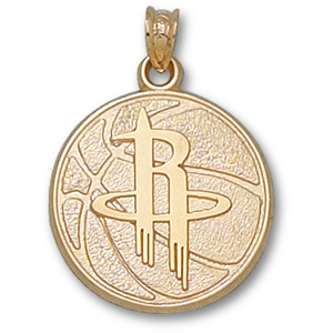 14kt Yellow Gold 3/4in Houston Rockets Basketball Pendant