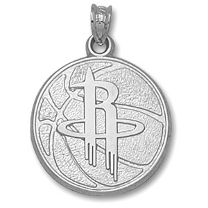 Sterling Silver 3/4in Houston Rockets Basketball Pendant