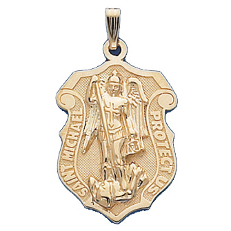14kt Yellow Gold 1in St. Michael Shield Pendant