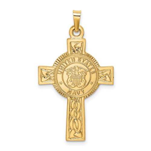 14kt Yellow Gold 1 1/8in U.S. Navy Cross Pendant