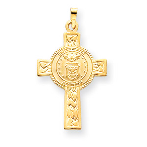 14kt Yellow Gold U.S. Air Force 1 1/8in Cross Pendant