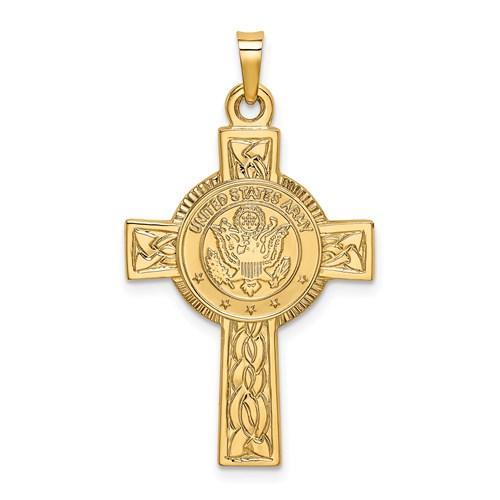 14kt Yellow Gold 1 1/8in U.S. Army Cross Pendant