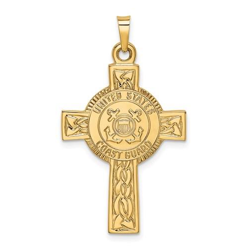 U.S. Coast Guard 1 1/8in Cross Pendant - 14k Yellow Gold