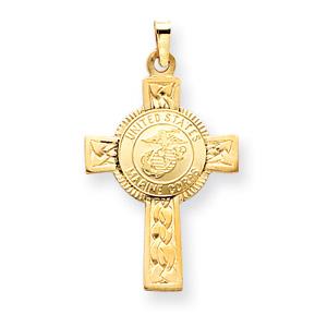 USMC 1 1/8in Cross Pendant - 14k Yellow Gold