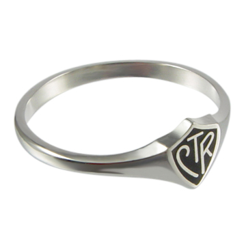 Black Mini CTR Ring - Sterling Silver