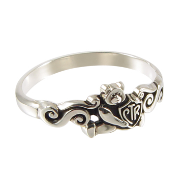Teddy Bear Antiqued CTR Ring - Sterling Silver