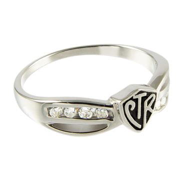 Sterling Silver Bow Antiqued CTR Ring