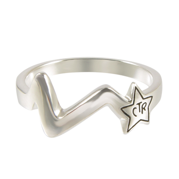 Shooting Star Antiqued CTR Ring - Sterling Silver
