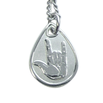 I Love You Sign Language Necklace - Silver Finish