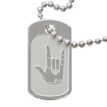 I Love You Sign Language Dog Tag Necklace