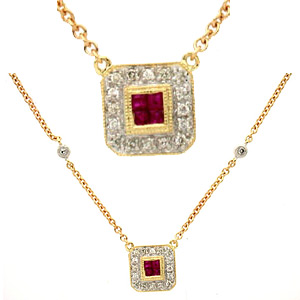 Ruby and Diamond Necklace - 14k Yellow Gold