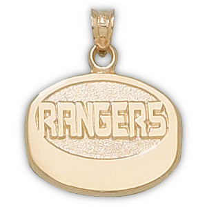 14kt Yellow Gold 5/8in New York Rangers Puck Pendant