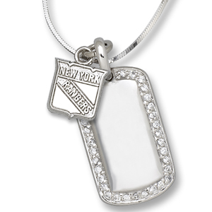 Sterling Silver New York Rangers Mini Dog Tag Necklace