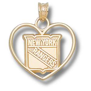 New York Rangers 5/8in 14k Heart Pendant