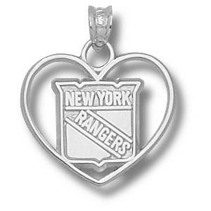 Sterling Silver 5/8in New York Rangers Heart Pendant