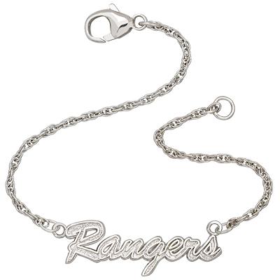 Sterling Silver 7in New York Rangers Script Bracelet