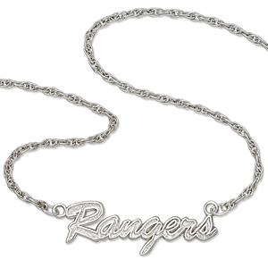 New York Rangers 18in Sterling Silver Script Necklace