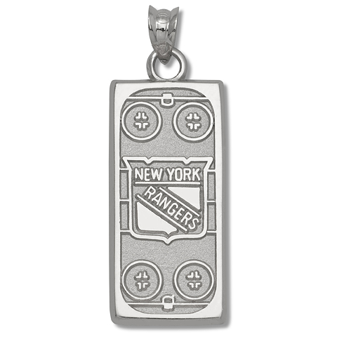 Sterling Silver 15/16in New York Rangers Rink Pendant