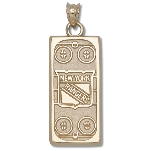 10kt Yellow Gold 15/16in New York Rangers Rink Pendant