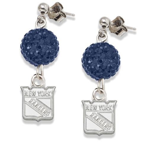 Sterling Silver New York Rangers Crystal Ovation Earrings