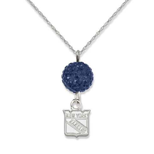 Sterling Silver New York Rangers Crystal Ovation Necklace