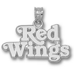 Sterling Silver 1/2in Detroit Red Wings Pendant