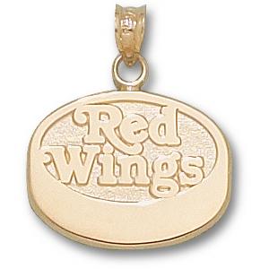 Detroit Red Wings 5/8in 14k Puck Pendant