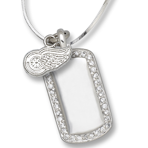Sterling Silver Detroit Red Wings Mini Dog Tag Necklace