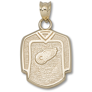 14kt Yellow Gold 5/8in Detroit Red Wings Jersey Pendant